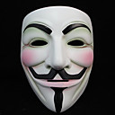 halpa Halloween- ja karnevaaliasut-V for Vendetta Naamio Aikuisten Miesten Halloween Halloween Masquerade Festivaali / loma Muovit Valkoinen Karnevaalipuvut Color Block