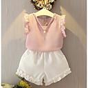 levne Sady oblečení-Děti / Toddler Dívčí Aktivní / Šik ven Jednobarevné Volány Bez rukávů Bavlna / Polyester Sady oblečení Světlá růžová