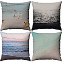 cheap Pillow Covers-4 pcs Cotton / Linen Pillow Case, Pattern Nautical Patterned Beach Style