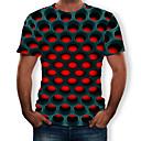 halpa Seinäkoristeet-Miesten Pyöreä kaula-aukko Painettu Geometrinen / 3D Katutyyli / Liioiteltu T-paita Musta