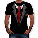 זול חולצות רכיבת אופניים-3D צווארון עגול טישרט - בגדי ריקוד גברים דפוס שחור
