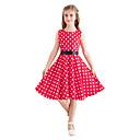 رخيصةأون فساتين البنات-فستان طول الركبة بدون كم طباعة منقط عتيق / لطيف للفتيات أطفال / قطن