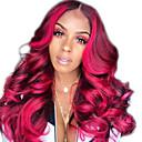 halpa Synteettiset peruukit verkolla-Synteettiset peruukit Kinky Straight Tyyli Keskiosa Suojuksettomat Peruukki Punainen Tummanpunainen Synteettiset hiukset 12 inch Naisten Naisten Punainen Peruukki Pitkä Luonnollinen peruukki