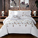 cheap High Quality Duvet Covers-Duvet Cover Sets Solid Colored / Floral Cotton Embroidery 4 PieceBedding Sets