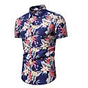billige Herreskjorter-Herre - Blomstret Trykt mønster Skjorte Blå XL