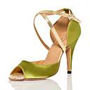 hesapli Latin Dans Ayakkabıları-Kadın's Suni Deri Latin Dans Ayakkabıları Topuklular İnce Topuk Kişiselleştirilmiş Yeşil / Performans / Egzersiz