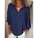 cheap Running Shirts, Pants & Shorts-Women's Plus Size Shirt - Striped Shirt Collar Green XXXL