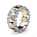 tanie Oświetlenie Tiffany-Męskie Damskie Pierścień Imitacja diamentu Europejskie Modne pierścionki Biżuteria Złoty Na Codzienny