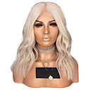 cheap Synthetic Lace Wigs-Synthetic Lace Front Wig Wavy Style Middle Part Lace Front Wig Blonde Platinum Blonde Synthetic Hair 14 inch Women's Adjustable / Heat Resistant / Women Blonde Wig Short Natural Wigs / Yes