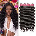 halpa Aitohiusperuukit-4 pakettia Brasilialainen Deep Curly Käsittelemätön aitoa hiusta 100% Remy Hair Weave -paketit Hiukset kutoo Bundle Hair Aitohiuspidennykset 8-28 inch Luonnollinen väri Hiukset kutoo Hajuton Muodikas