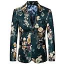 billige Herreblazere og jakkesæt-Herre Blazer, Blomstret Hakrevers Rayon / Polyester Grøn XXXXL / XXXXXL / XXXXXXL