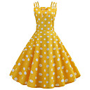 cheap Vintage Dresses-Women's Vintage 1950s A Line Dress - Polka Dot Print Summer Black Yellow Light Blue L XL XXL
