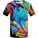 billige Forbrukerelektronikk-Rund hals Store størrelser T-skjorte Herre - 3D, Trykt mønster Regnbue