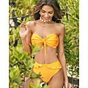 ราคาถูก ชุดบิกินี-สำหรับผู้หญิง พื้นฐาน ทับทิม สีเหลือง ตะพุ่น ผ้าพันผมสตรี Cheeky บิกินี่ ชุดว่ายน้ำ - สีพื้น ระบาย S M L ทับทิม