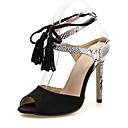 billige Sandaler til damer-Dame PU / Syntetisk Sommer Sandaler Stilethæle Kigge Tå Kvast Sort / Mandel / Farveblok