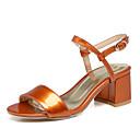 billige Sandaler til damer-Dame PU Sommer Klassisk / Britisk Sandaler Kraftige Hæle Åben Tå Spænde Orange / Rød / Grøn / Fest / aften