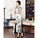 cheap Ethnic & Cultural Costumes-Adults' Women's Chinese Style Wasp-Waisted Chinese Style Cheongsam Qipao For Engagement Party Bridal Shower Elastane Ankle Length Cheongsam