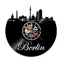 levne Nástěnné hodiny-1piece Německo panorama domácí výzdoba berlín vinyl záznam silueta nástěnné hodiny panoráma města vedl podsvícení euro cestování suvenýr