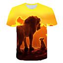 hesapli Erkek Gömlekleri-Erkek Yuvarlak Yaka Tişört Desen, Zıt Renkli / 3D / Hayvan Turuncu