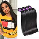 halpa Aitohiusperuukit-4 pakettia Brasilialainen Suora 100% Remy Hair Weave -paketit Hiukset kutoo Pidentäjä Bundle Hair 8-28inch Luonnollinen väri Hiukset kutoo Cosplay Pehmeä Tanssia Hiukset Extensions Naisten