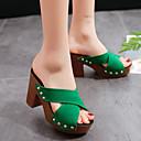 hesapli Kadın Sandaletleri-Kadın's Sandaletler Kalın Topuk Burnu Açık Perçin Süet Klasik Yürüyüş İlkbahar yaz / Sonbahar Kış Siyah / Yeşil / Turuncu
