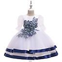 זול בגדי ריקוד לילדים-שמלה עד הברך שרוולים קצרים רקום אחיד פעיל / סגנון חמוד בנות ילדים