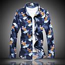 billige Herreskjorter-Stående krave Herre - Blomstret Plusstørrelser Skjorte Navyblå XXXXL
