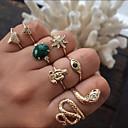 זול טבעות-בגדי ריקוד נשים טבעת טבעת הגדר 9pcs זהב סגסוגת מעגלי Geometric Shape פשוט טרנדי מתוק חתונה תכשיטים לא תואם נחש ינשוף לדמיין חמוד