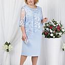 זול תיקי אלכסון-עד הברך תחרה, אחיד - שמלה נדן מידות גדולות לאמא בגדי ריקוד נשים