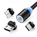 זול טסטרים וגלאים-3 ב 1 הוביל כבל טעינה מגנטי עבור iPhone xr xs x x x x x 6 x 6 טלפון סלולרי מגנט מטען מיקרו כבל USB סוג c חוט
