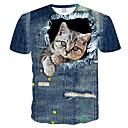 baratos Quadicópteros CR & Multirotores-Homens Tamanhos Grandes Camiseta Japonesa / Curta Estampado, 3D / Animal Decote Redondo Delgado Azul