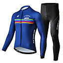 cheap Cycling Jersey & Shorts / Pants Sets-Mysenlan Men's Long Sleeve Cycling Jersey with Tights Dark Blue Bike Clothing Suit Sports Polyester Spandex Horizontal Stripes Mountain Bike MTB Road Bike Cycling Clothing Apparel