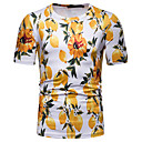 hesapli Erkek Gömlekleri-Erkek Yuvarlak Yaka Tişört Desen, Geometrik / Grafik / Meyve Temel Yonca L