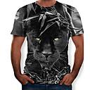 お買い得  メンズフーディー&スウェットシャツ-男性用 Tシャツ ラウンドネック スリム 3D / 動物 ブラック XL