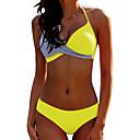 ราคาถูก ชุดบิกินี-สำหรับผู้หญิง พื้นฐาน สีดำ สีเหลือง สีบานเย็น ผ้าพันผมสตรี Boy Leg บิกินี่ ชุดว่ายน้ำ - สีพื้น เปิดหลัง XL XXL XXXL สีดำ