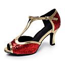 זול נעליים לטיניות-בגדי ריקוד נשים נעלי ריקוד עור נעליים לטיניות עקבים עקב קובני מותאם אישית שחור / אדום / הצגה / אימון