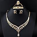 billige Mote Halskjede-Dame Gull Brude smykker sett Link / Kjede Tåredråpe Vintage Strass øredobber Smykker Gull Til Bryllup Engasjement Gave 1set / Øredobber