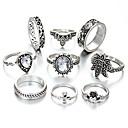 levne Prsteny-Dámské Kubický zirkon Sada kroužků Evropský Fashion Ring Šperky Stříbrná Pro Svatební 9ks