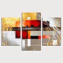 levne Abstraktní malby-Hang-malované olejomalba Ručně malované - Abstraktní Moderní Obsahovat vnitřní rám / Tři panely