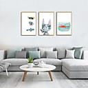 זול אומנות ממוסגרת-דפוס אומנות ממוסגרת סט ממוסגר - חיות סרט מצויר פוליסטירן איור וול ארט