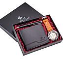 Недорогие Смарт-часы-Муж. Нарядные часы Кварцевый Подарочный набор Кожа Черный / Коричневый / Хаки 30 m Секундомер Очаровательный Творчество Аналоговый Классика На каждый день - Серебро + серый Хаки Серебристый / белый