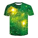 levne Pánské tenisky-Pánské - Galaxie / 3D Větší velikosti Tričko, Tisk Kulatý Trávová zelená XXL