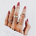 זול טבעות-בגדי ריקוד נשים טבעת הגדר זירקונה מעוקבת 6pcs זהב סגסוגת מעגלי ארופאי חתונה תכשיטים חמוד