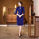 זול תלבושות אתניות ותרבותיות-מבוגרים בגדי ריקוד נשים סגנון סיני Cheongsam עבור מדים מועדון תערובת פולי / כותנה באורך  הברך Cheongsam