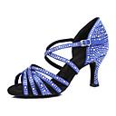 رخيصةأون أحذية لاتيني-نسائي جلد ظبي أحذية رقص كعب كعب مثير مخصص أزرق / عاري / أداء / تمرين