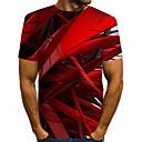 baratos Quadicópteros CR & Multirotores-Homens Tamanho Europeu / Americano Camiseta - Bandagem Moda de Rua / Exagerado Estampado, Estampa Colorida / 3D / Gráfico Decote Redondo Vermelho / Manga Curta