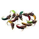 זול פיתיונות וזבובי דיג-12 # 6pcs רוק תולעת caddis נימפה ירוק / כתום / אדום / ירוק כהה / לערבב צבע חם נקודה לטוס דיג זבובים לפתות baits