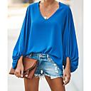 abordables Sacs Cosmétiques-Tee-shirt Femme, Couleur Pleine Mosaïque Basique Col en V Ample Gris