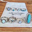 זול טבעות-בגדי ריקוד נשים טבעת הגדר טבעת החותם זירקונה מעוקבת 8pcs כחול סגסוגת מעגלי ארופאי חתונה תכשיטים חמוד