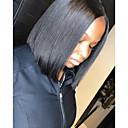 hesapli Gerçek Saç Örme Peruklar-Gerçek Saç 4x13 Kapanış Peruk Bob Saç Kesimi Kısa Bob Derin ayrılık stil Düz Brezilya Saçı Doğal düz Peruk % 130 Saç yoğunluğu Bebek Saçlı Doğal saç çizgisi Afrp Amerikan Peruk Siyahi Kadınlar İçin